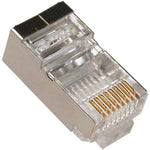 RJ45 Cat.5E Shielded Plug Solid 50 Micron 3P w/Inserter 100pk - EWAAY.COM