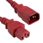 2Ft 14AWG 15A 250V Power Cord Cable (IEC320 C14 to IEC320 C15) Red