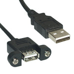 3Ft USB 2.0 A Male to A Female Cable with Panel Mount