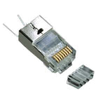 RJ45 Cat.6 Shielded Plug Solid 50Micron 1.5mm dia 3 Prong w/Inserter 100pk - EWAAY.COM