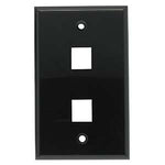 2Port Keystone Wallplate Black Smooth Face