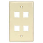4Port Keystone Wallplate Ivory Smooth Face - EWAAY.COM
