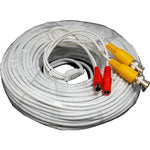 60Ft BNC Male to Male, DC Male to Female Siamese Security Camera Cable White