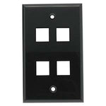 4Port Keystone Wallplate Black Smooth Face - EWAAY.COM
