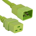 2Ft 12AWG 20A 250V Heavy Duty Power Cord Cable (IEC320 C20 to IEC320 C19) Green
