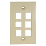 6Port Keystone Wallplate Ivory Decora Type