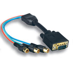1Ft 3 Mini Coaxial VGA/Video Cable HD15 Male to 3RCA Female - EWAAY.COM