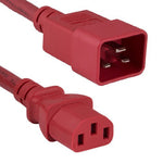 6Ft 14AWG 15A 250V Power Cord (IEC320 C13 to IEC320 C20) Red