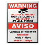 "Surveillance Warning Sign English/Spanish Red 7""x9"" - EWAAY.COM"