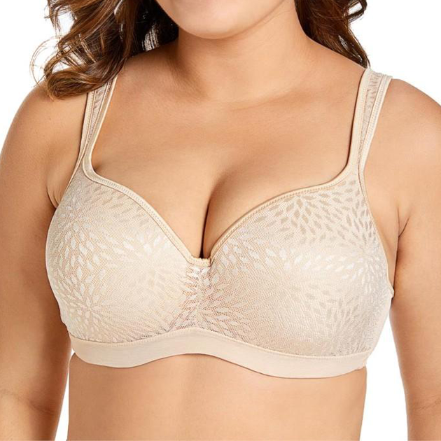 Lightly Padded Lace Plunge Beige Bra