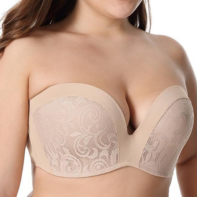Full Figure Seamless Lined Multiway Beige Strapless Bra