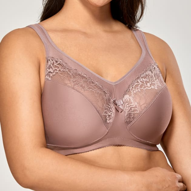 Full Figure Wire Free Medium Purple Minimizer - Plus Size Bra - Full Coverage Full Cup Minimizer Purple Unlined