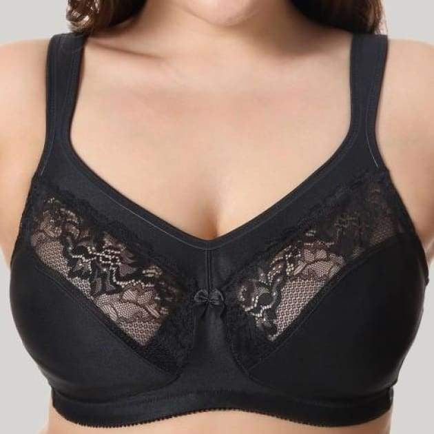 Full Coverage Embroidered Black Minimizer Bra