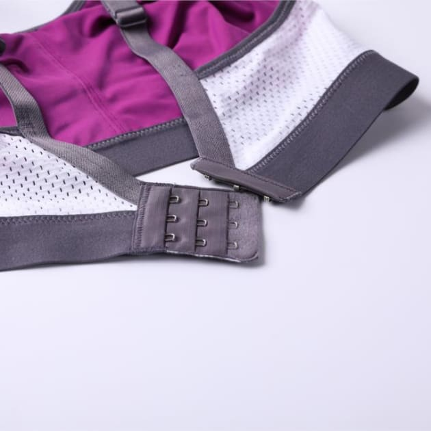 High Control Wire Free Non-Padded Sports Bra - Purple - Plus Size Bra - Non-Padded Sports Bra Wire Free
