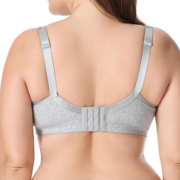 Lace Trim Wire Free Cotton Bra - Grey - Plus Size Bra - Cotton Lace Wire Free