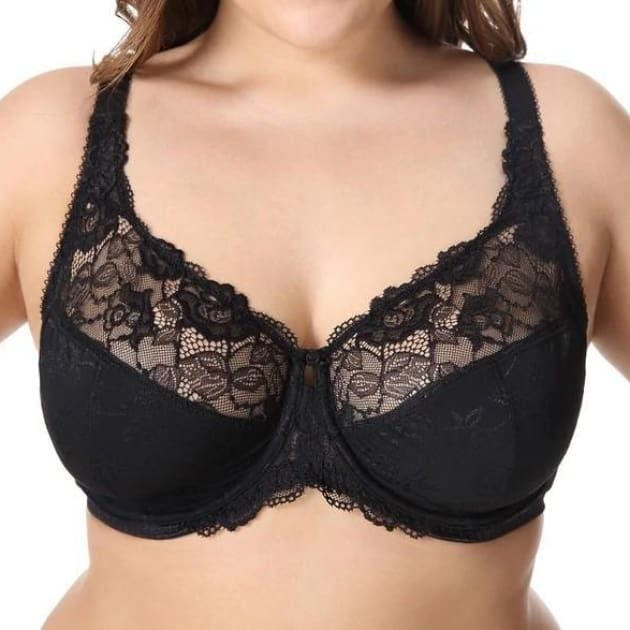 Large Cup Jacquard Non-Padded Sheer Lace - Black - Plus Size Bra - Jacquard Lace Large Cup Non-Padded