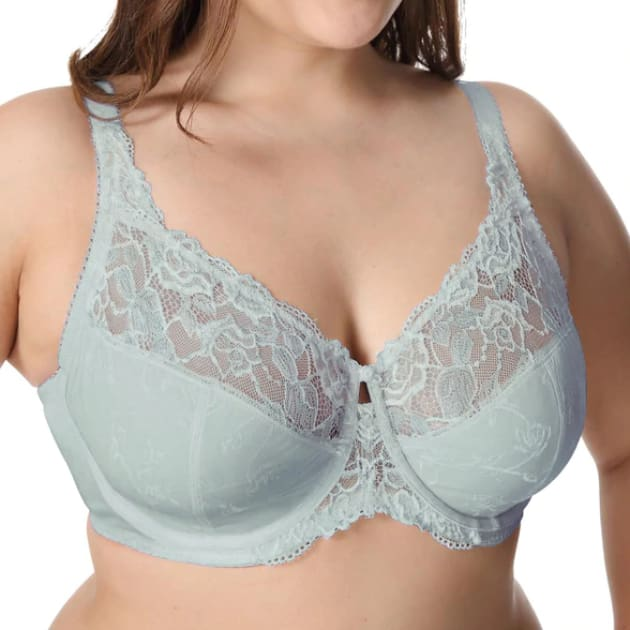 Large Cup Jacquard Non-Padded Sheer Lace - Steel Blue - Plus Size Bra - Jacquard Lace Large Cup Non-Padded