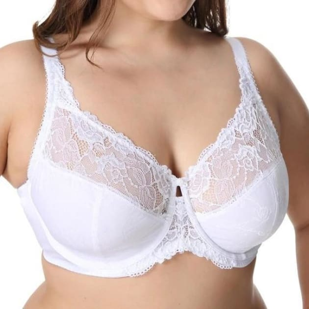 Large Cup Jacquard Non-Padded Sheer Lace - White - Plus Size Bra - Jacquard Lace Large Cup Non-Padded