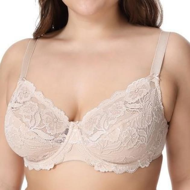 Non-Padded Floral Embroidery Lace - Beige - Plus Size Bra - Lace Non-Padded Unlined