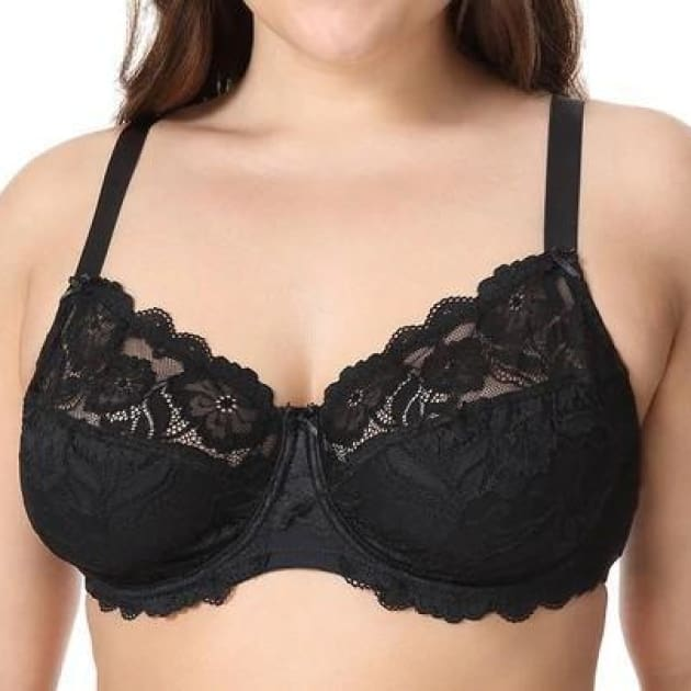 Non-Padded Floral Embroidery Lace - Black - Plus Size Bra - Lace Non-Padded Unlined