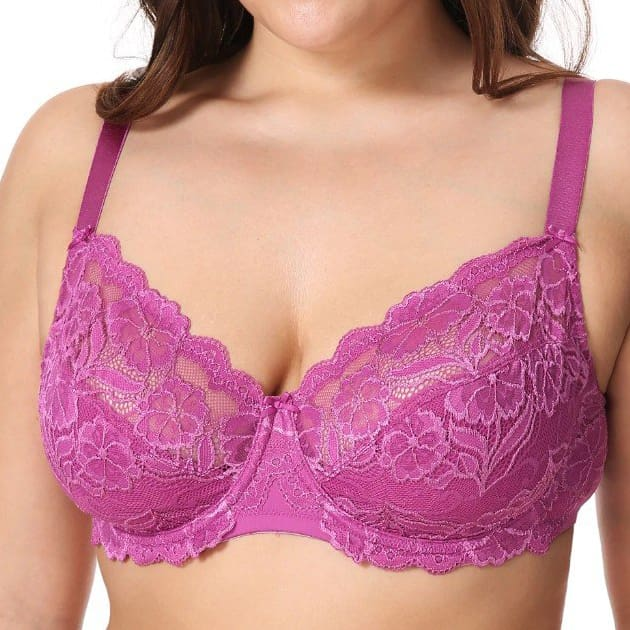 Non-Padded Floral Embroidery Lace - Fuchsia - Plus Size Bra - Lace Non-Padded Unlined