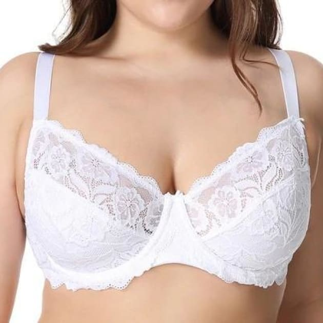 Non-Padded Floral Embroidery Lace - White - Plus Size Bra - Lace Non-Padded Unlined