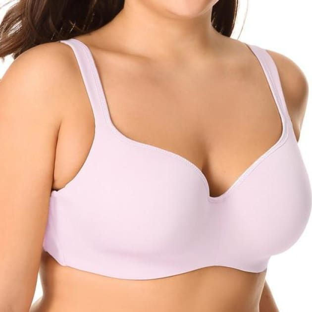 Seemless Balconette T-Shirt - Pink - Plus Size Bra - 3/4 Cup Balconette Push Up Seamless Smooth