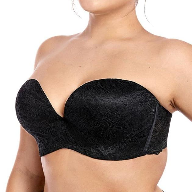 Sexy Lace Lined Strapless Black Lift Bra - Plus Size Bra - Demi bra Half cup Lace Padded Push up
