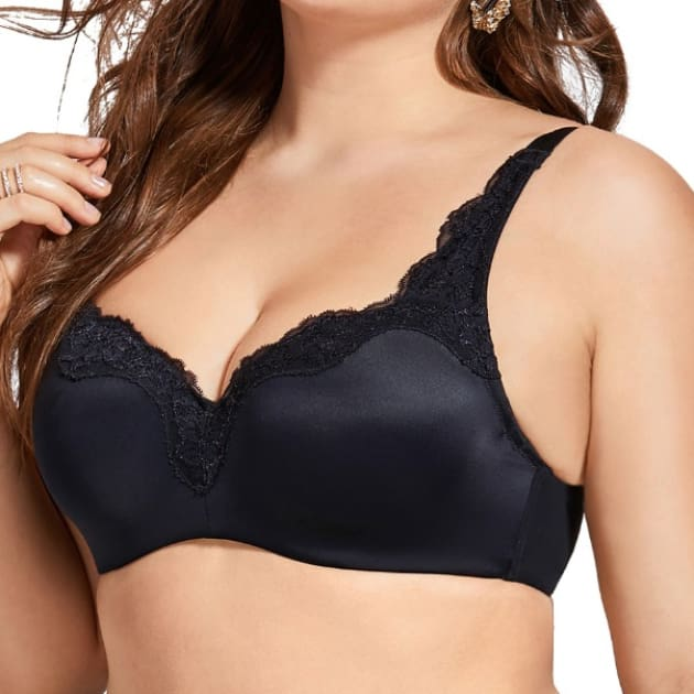 Lightly Padded Lace Plunge Black Bra