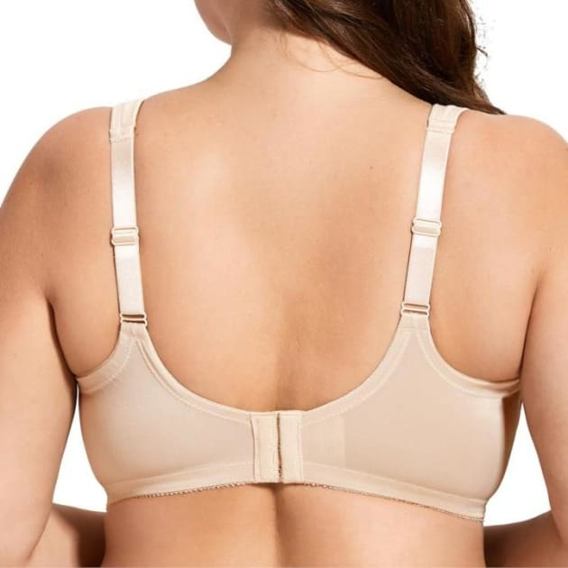 Unlined Wire Free Cotton Beige Bra - Plus Size Bra - Cotton Non-Padded Wire Free