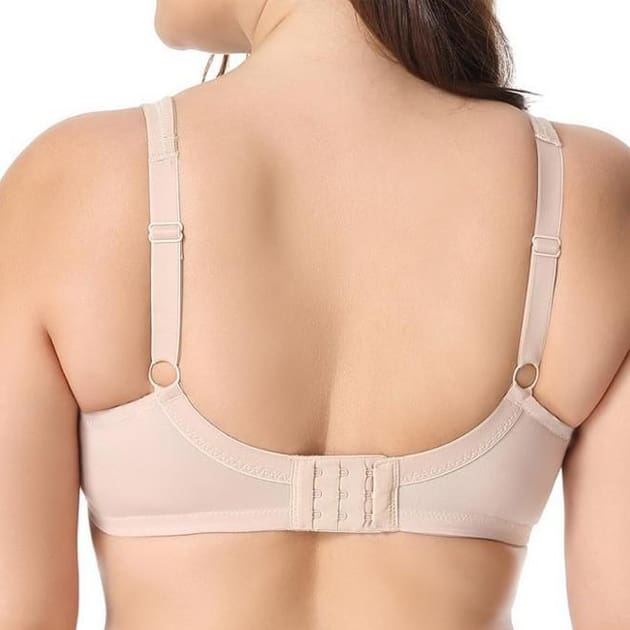 V Neck Full Cover Non-Padded Bra - Beige - Plus Size Bra - Full Cup Non-Padded Unlined V Neck