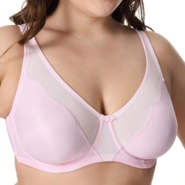V Neck Full Cover Non-Padded Bra - MistyRose - Plus Size Bra - Full Cup Non-Padded Unlined V Neck