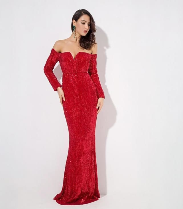 Red Long Sleeve Sequin Dress
