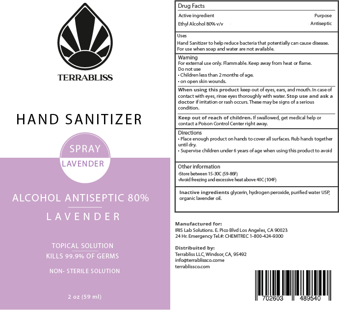 Terrabliss Hand Sanitizer, Lavender, 2oz