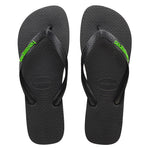 Rubber Logo Black/Neon Green Thongs