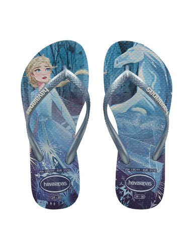 Kids Slim Frozen White/Snow Flakes Thongs