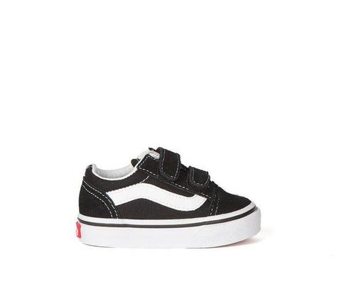 Toddler Old Skool Black/White Velcro Shoes