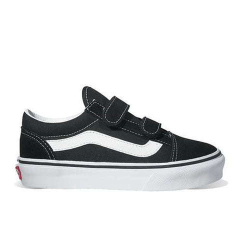 Kids Old Skool Black/White Velcro Shoes