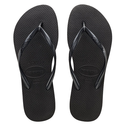 Slim Basic Black Thongs