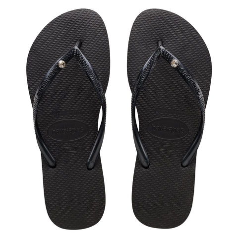 Slim Crystal SW Black/Black Thongs
