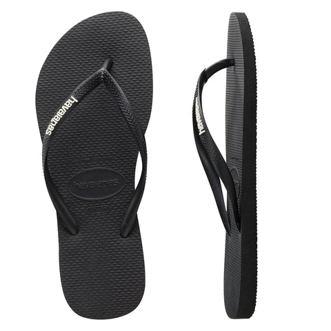 Slim Rubber Logo Black/White Thongs