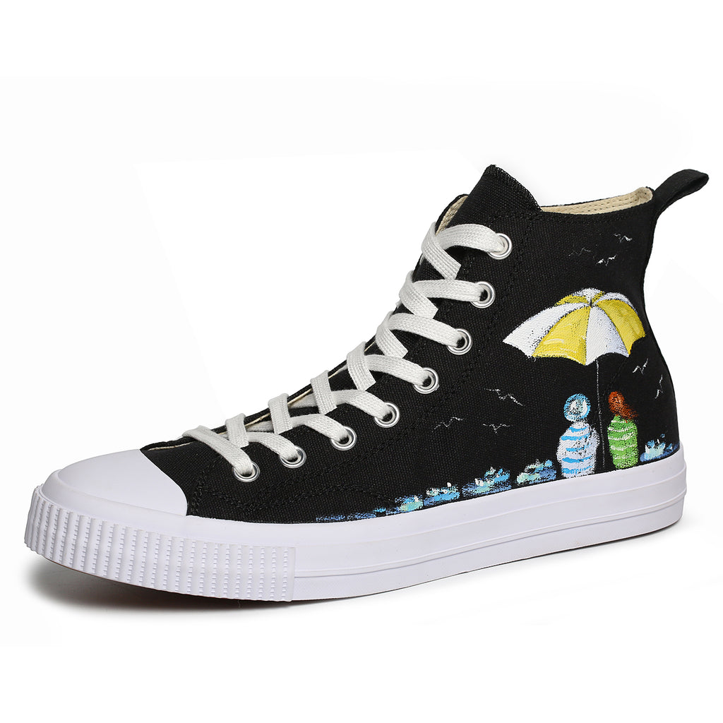 Women Painted Shoes High Top Sneakers Casual Lace Up Canvas Shoes Umbrella