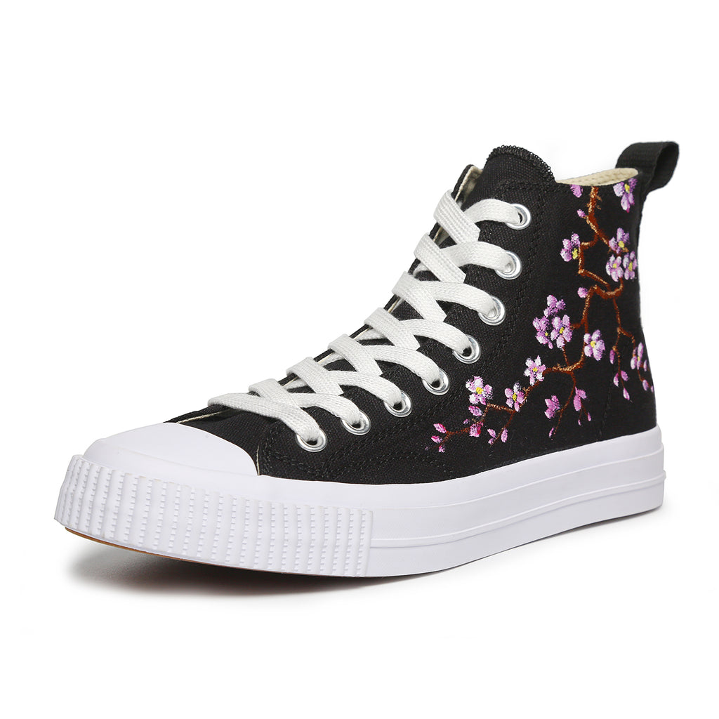 Women Painted Shoes High Top Sneakers Casual Lace Up Canvas Shoes Plum Blossom