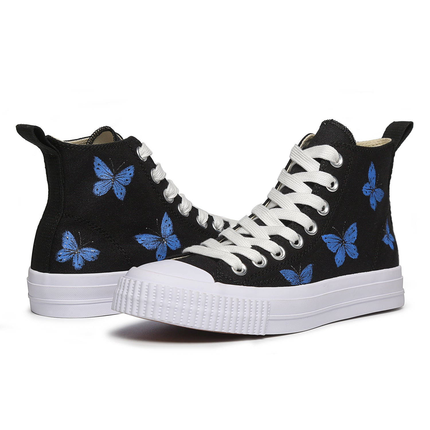 Women Painted Shoes High Top Sneakers Casual Lace Up Canvas Shoes Butterfly