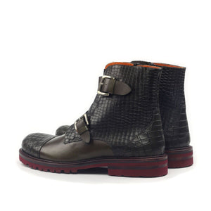 Omine Engraved Cap Toe Double Strap Boot
