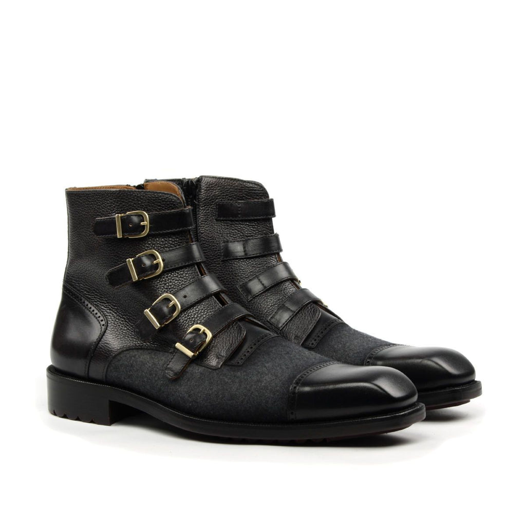Omine Multi Strap Buckle Cap Toe Boot