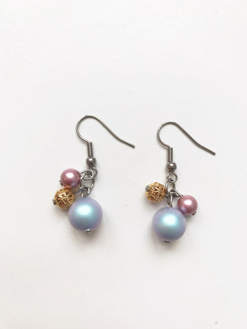 Boucles d'oreilles Cream fall/ rosegold earrings