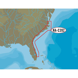 C-MAP NT+ NA-C392 C-Card Format ICW Norfolk to West Palm Florida
