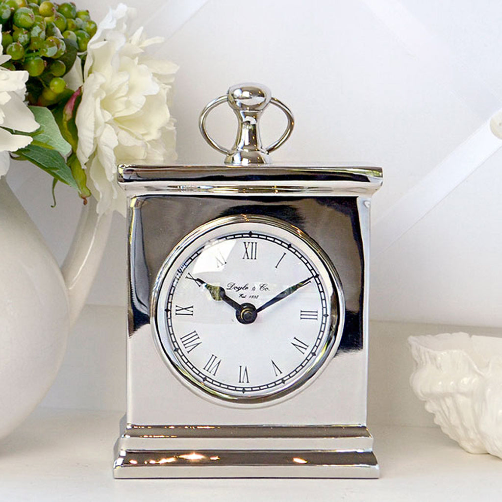 Elegant Silver Mantle Clock