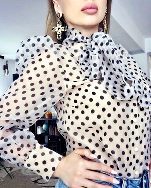 Polka Dot Bow Collar Shirt